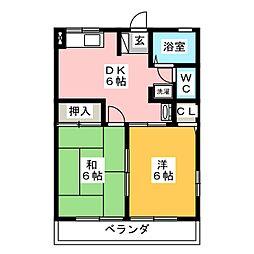 コスモ清水ヶ岡[2階]の間取り