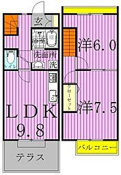 [テラスハウス] 千葉県柏市戸張 の賃貸【千葉県 / 柏市】の間取り