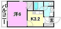 ミュゼ南松山[203 号室号室]の間取り