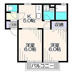 東京都西東京市東伏見5丁目の賃貸アパートの間取り