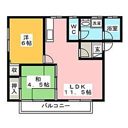 ハイツMISUZU B[1階]の間取り