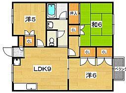 ラガーハイツ2 B棟[103号室]の間取り