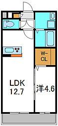 大阪府摂津市新在家1丁目の賃貸アパートの間取り