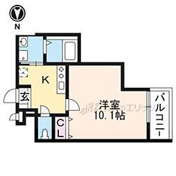 阪急京都本線 上牧駅 徒歩2分の賃貸アパート 2階1Kの間取り