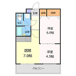 北海道江別市幸町の賃貸マンションの間取り