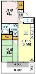 岡山県倉敷市白楽町の賃貸アパートの間取り