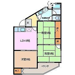 鈴与マンション[3階]の間取り