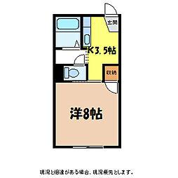 長野県伊那市西箕輪の賃貸アパートの間取り