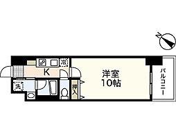 JR山陽本線 広島駅 徒歩20分の賃貸マンション 10階1Kの間取り