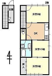 小林アパート[2階東号室]の間取り