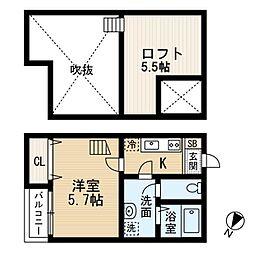 JR仙山線 北山駅 徒歩11分の賃貸アパート 2階1Kの間取り