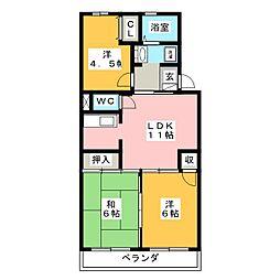 静岡県静岡市清水区馬走北の賃貸マンションの間取り
