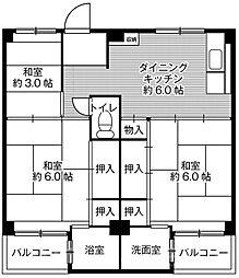 ビレッジハウス葛ノ葉4号棟[4階]の間取り