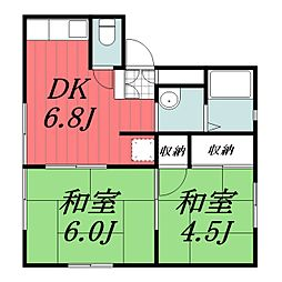 JR成田線 木下駅 徒歩25分の賃貸アパート 2階2DKの間取り
