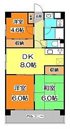東京都東久留米市下里3丁目の賃貸マンションの間取り