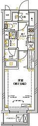 ディアレイシャス武蔵新城 2階1Kの間取り