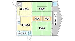 兵庫県姫路市土山6丁目の賃貸マンションの間取り