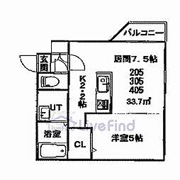 札幌市営東豊線 美園駅 徒歩8分の賃貸マンション 3階1DKの間取り