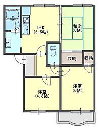 大阪府堺市北区東浅香山町1丁の賃貸アパートの間取り