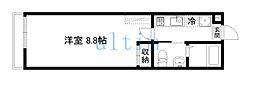 京阪本線 七条駅 徒歩4分の賃貸マンション 3階1Kの間取り
