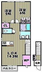 クレスト霞ヶ丘[2階]の間取り