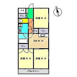 高須ハイツ[3階]の間取り