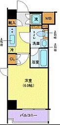 東急東横線 武蔵小杉駅 徒歩6分の賃貸マンション 2階1Kの間取り