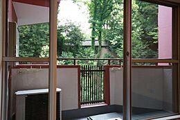 氷川神社の木々を借景にできるバルコニー。