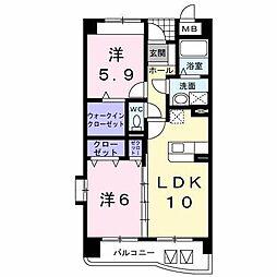 ユ−トピアB[2階]の間取り
