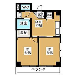東急目黒線 不動前駅 徒歩7分の賃貸マンション 3階2LDKの間取り