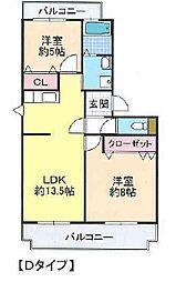 大阪府富田林市向陽台2丁目の賃貸マンションの間取り