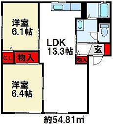 エピローグK[B102号室]の間取り