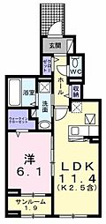 JR青梅線 牛浜駅 徒歩9分の賃貸アパート 1階1LDKの間取り
