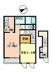 伊予鉄道横河原線 松山市駅 バス35分 森松下車 徒歩17分の賃貸アパート 2階1LDKの間取り