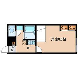 JR関西本線 大和小泉駅 徒歩2分の賃貸アパート 2階1Kの間取り