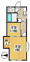 カーサ木村[201号室]の間取り