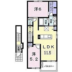 エミネンス B 2階2LDKの間取り