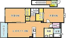 フリーデ高須[2階]の間取り