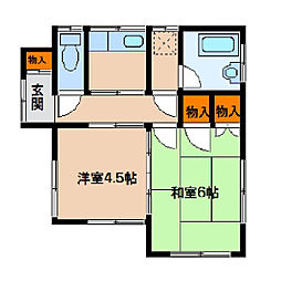 椎の木台アパート[1号室]の間取り