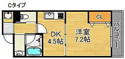 エテックUMIO 3階1DKの間取り