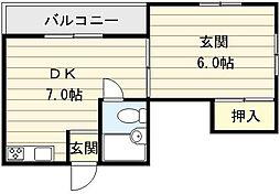 大阪府大阪市生野区田島5丁目の賃貸マンションの間取り
