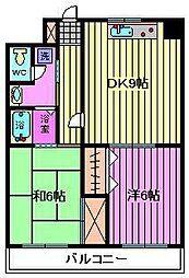 フクロク・ハイ・マンション 2号館[1001号室]の間取り