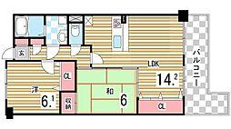 セレッソカージェ芦屋 1階2LDKの間取り