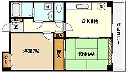 兵庫県神戸市東灘区深江北町5丁目の賃貸マンションの間取り