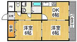 大阪府堺市北区百舌鳥西之町2丁の賃貸マンションの間取り