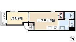 ハーモニーテラス新栄 3階1LDKの間取り