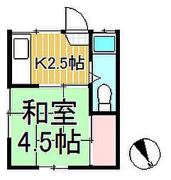 海老塚荘[201号室]の間取り