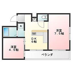 徳島県徳島市中昭和町2丁目の賃貸マンションの間取り