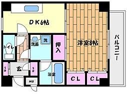阪神本線 西灘駅 徒歩3分の賃貸マンション 2階1DKの間取り