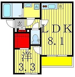 AJ新松戸IX 2階1LDKの間取り